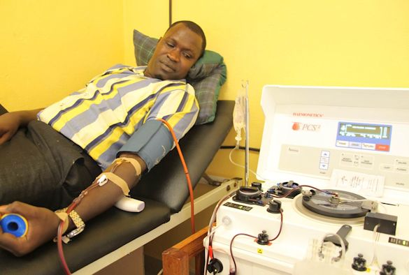 Ebola patient giving blood