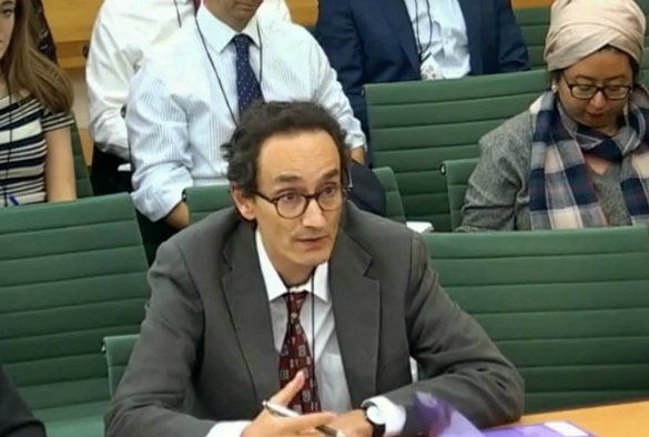 Profesor Tom Solomon giving evidence at the House of Commons meeting