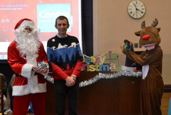 Dr Alan Radford with Santa and Rudolph