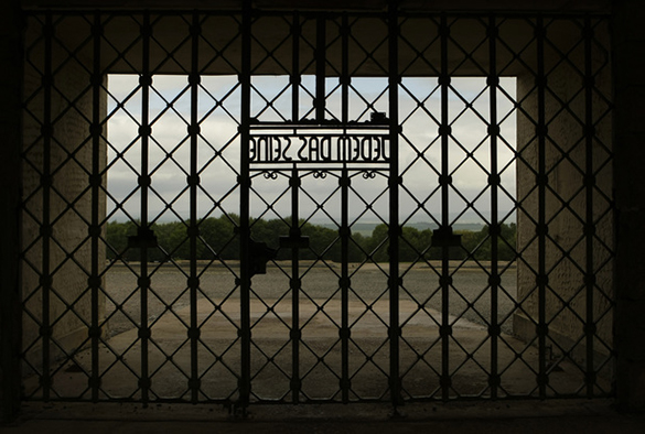 The camp gate bearing the inscription 'To Each His Own' is pictured at the former Buchenwald Nazi concentration camp near the eastern German city of Weimar