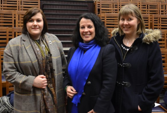 French Ambassador Sylvie Bermann (Centre) meets French students Olivia Colquitt (Left) and Lleuwen Hedd (Right).