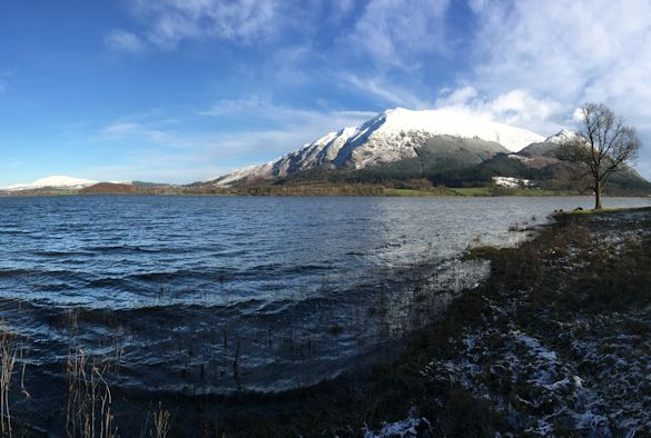 Bassenthwaite Lake against the backdrop of Skiddaw in the Lake District