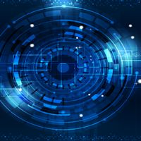 technology digital world of business information blue abstract background