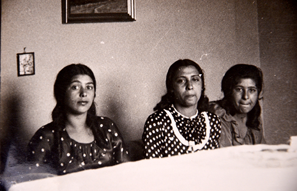 Unku (left) became an icon of the Nazi persecution of gypsies after her story was featured in a book that became required reading at all GDR schools. It is through these images and subsequent research that it has been possible to confirm that she was a real person, whose fate was ultimately decided by her transportation to Auschwitz where she was interned and later died. She is pictured with her aunt Lotte - one of the few members of her family to survive the camps - and their friend Puppchen on a visit to Weltzel's home.