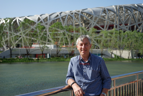 Outside the Beijing National Stadium, , also known as the Bird's Nest.