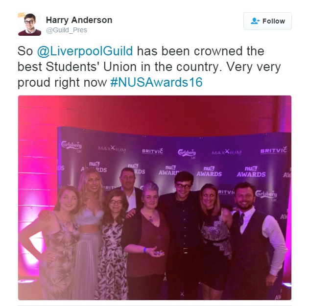 NUS guild award tweet