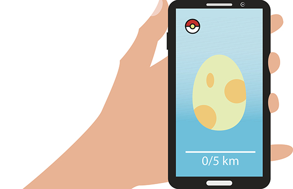 Smartphone in hand with the image of the egg for