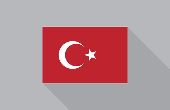 Turkey flag flat design vector illustration