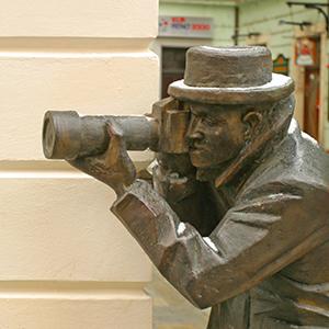 Photographer statue, Bratislava, Slovakia.