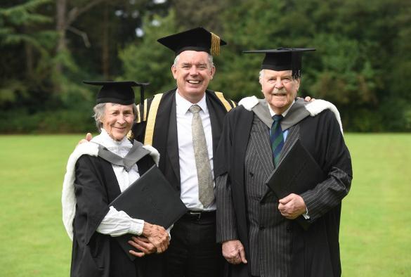 Honorary graduates Gwendolen Collinson Stokes and Philip Ayrton-Grime with Deputy Vice-Chancellor, Patrick Hackett