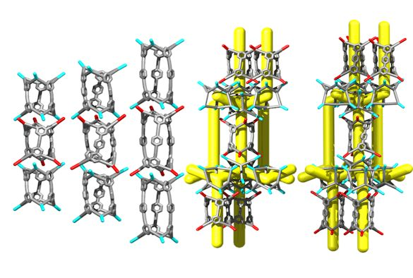 Image: Three 1-D nanotubes and two 3-D structures made from porous organic cages