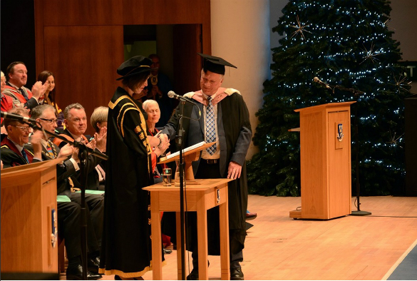 Pete Cresswell receiving his Honorary Degree from Vice-Chancellor Professor Janet Beer