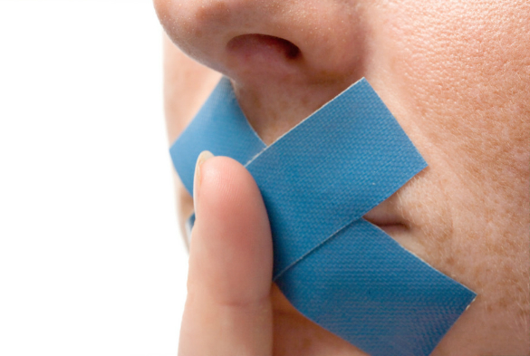 tape over a person's mouth