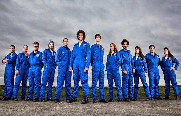 The 12 candidates taking part in `Astronauts: have you got what it takes?' (Jackie is 5th from the right)