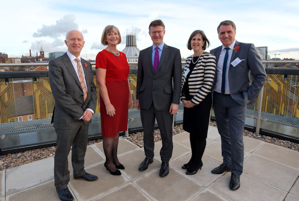 From l to r: Professor Nigel Weatherill, Alison Mitchell, Greg Clark, Professor Janet Beer, Steve Rotheram