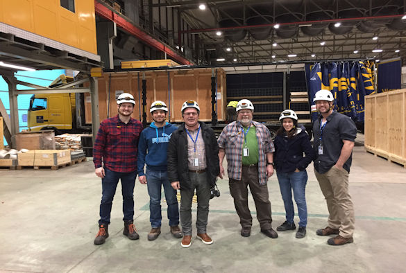 ProtoDUNE core installation team with the first arrival from Daresbury. Professor  Touramanis is 3rd from left