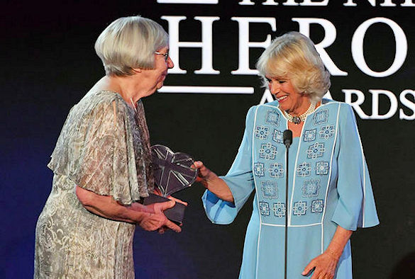 Averil Mansfield CBE receiving the Aneurin Bevan Lifetime Achievement Award (Copyright ITV)
