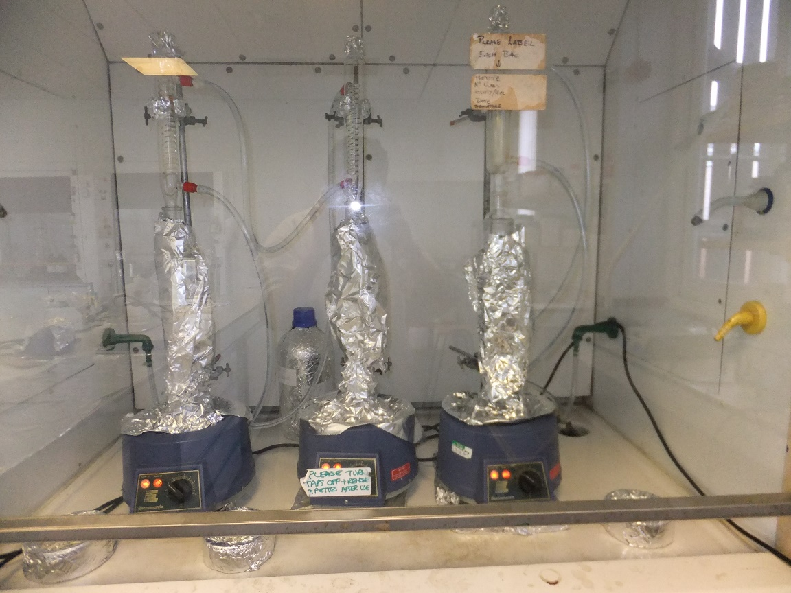 Extracting the organic matter (molecules) from rock samples