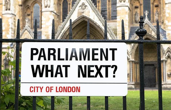 Parliament, who next? London Street sign