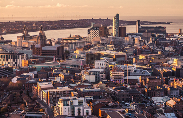 Liverpool city aerial panorama view during sunset