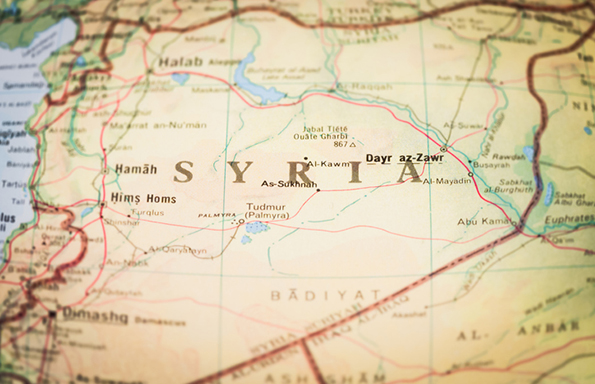 A close up of the map of Syria