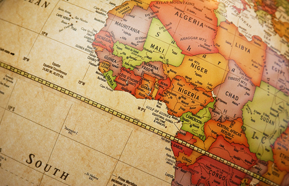 World globe centering on the African continent
