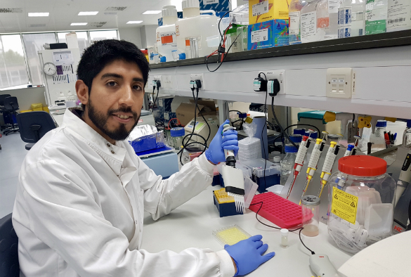 Miguel Leon-Rios in the laboratory