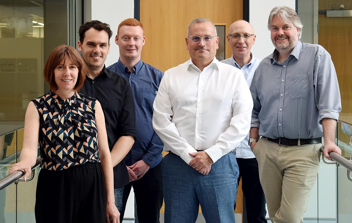 L-R Emma Nolan, Marco Giardello, Lee Tatham, Antony Odell, Professor Steve Rannard and Professor Andrew Owen