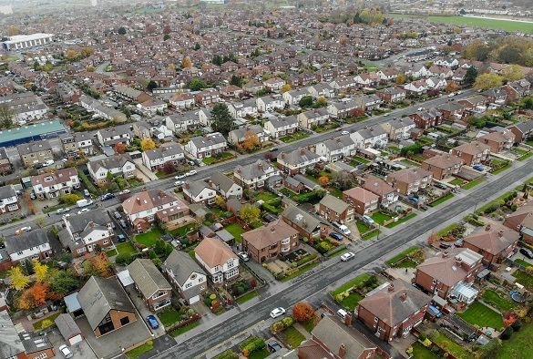 Aerial photo showing a housing estate