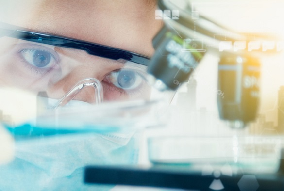 Double exposure of scientist with equipment and science experiments ,laboratory glassware containing chemical liquid for design or decorate science or other your content,copy space,mock up.