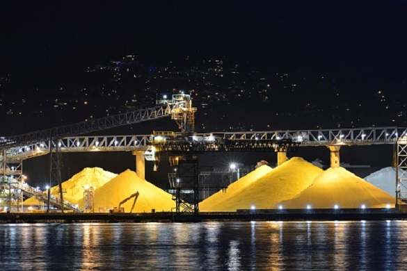 Waterfront Sulphur Piles at night, Port of Vancouver