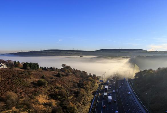 Fog on M62 motorway